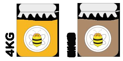 Colmena pequeña<br>4kg de miel de azahar + 4kg de montaña
