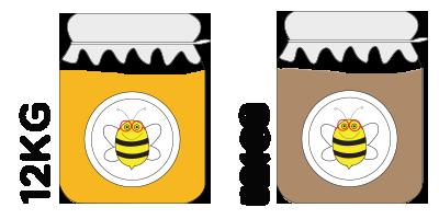 Colmena grande<br>12kg de miel de azahar + 12kg de miel de montaña